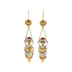 Amphora Urn Motif Earrings - 14KT Yellow and White Gold