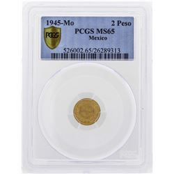 1945-Mo Mexico 2 Pesos Gold Coin PCGS MS65