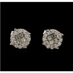 0.85 ctw Diamond Stud Earrings - 14KT White Gold