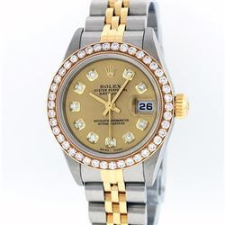 Rolex Two-Tone Diamond Quickset DateJust Ladies Watch