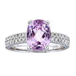 3.85 ctw Kunzite and Diamond Ring - 14KT White Gold