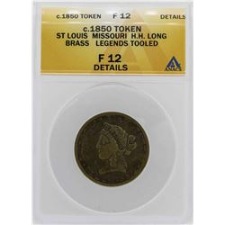 c.1850 St Louis HH Long Brass Legends Token ANACS F12 Details