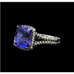 7.41 ctw Tanzanite and Diamond Ring - 14KT White Gold