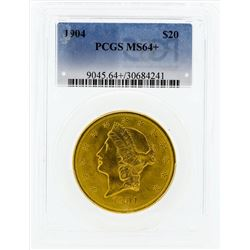 1904 $20 Liberty Head Double Eagle Gold Coin PCGS MS64+