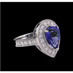 3.43 ctw Tanzanite and Diamond Ring - 14KT White Gold