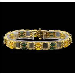 14KT Yellow Gold 12.97 ctw Sapphire and Diamond Bracelet