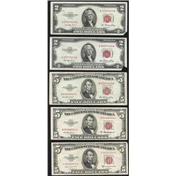 Lot of (2) 1953 $2 and (3) 1953 $5 Legal Tender Notes