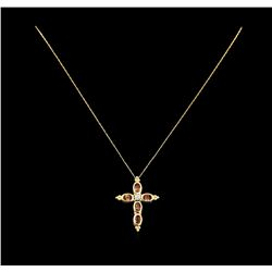 3.00 ctw Topaz and Diamond Cross Pendant With Chain - 10KT Yellow Gold