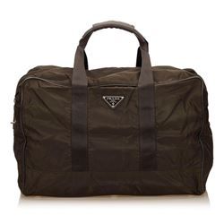 Prada Brown Nylon Leather Double Handle Zipper Duffle Bag