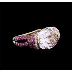 14KT Yellow Gold 16.58 ctw Kunzite, Pink Sapphire and Diamond Ring