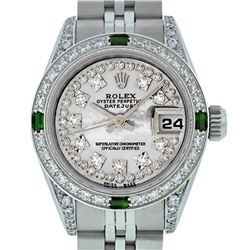 Rolex Ladies SS MOP Diamond Lugs And Emerald Datejust Wriswatch