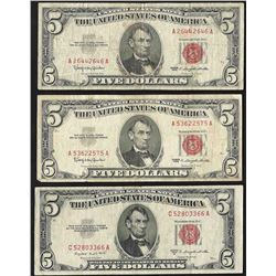 Lot of (3) 1953 & 1963 $5 Legal Tender Notes