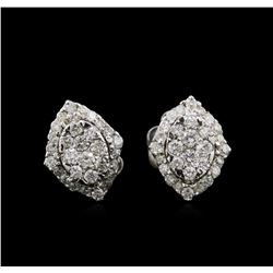 0.54 ctw Diamond Earrings - 14KT White Gold