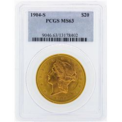 1904-S $20 Liberty Head Double Eagle Gold Coin PCGS MS63