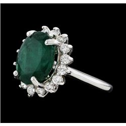 6.51 ctw Emerald and Diamond Ring - 14KT White Gold