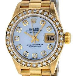 Rolex Ladies 18K Yellow Gold Mother Of Pearl Diamond President Wristwatch