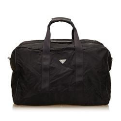 Prada Black Nylon Leather Double Handle Zipper Travel Duffle Bag