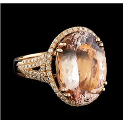 10.00 ctw Morganite and Diamond Ring - 14KT Rose Gold