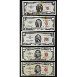 Lot of (3) 1953 $2 and (2) 1953 $5 Legal Tender Notes
