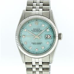 Rolex Stainless Steel Ice Blue Diamond DateJust Men's Watch