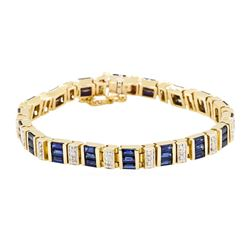 7.00 ctw Sapphire And Diamond Bracelet - 14KT Yellow Gold