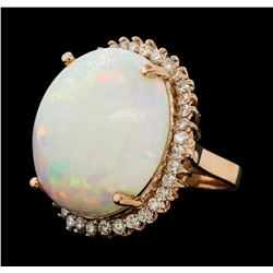 24.13 ctw Opal and Diamond Ring - 14KT Rose Gold