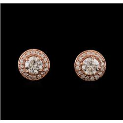 1.36 ctw Diamond Earrings - 14KT Rose Gold