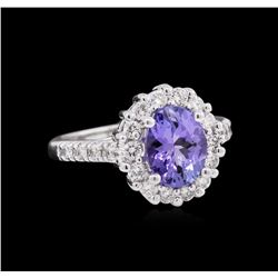 1.77 ctw Tanzanite and Diamond Ring - 14KT White Gold