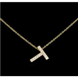 0.19 ctw Diamond Pendant With Chain - 14KT Yellow Gold