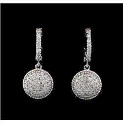 1.30 ctw Diamond Dangle Earrings - 14KT White Gold
