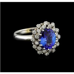2.3 ctw Tanzanite and Diamond Ring - 14KT White Gold