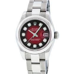 Rolex Stainless Steel Diamond Oyster Band Quickset DateJust Ladies Watch