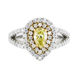 1.31 ctw Yellow and White Diamond Ring - 14KT White And Yellow Gold