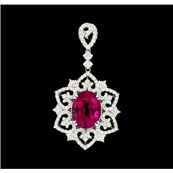 4.70 ctw Rubellite And Diamond Pendant - 14KT White Gold
