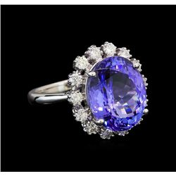 14KT White Gold 7.48 ctw Tanzanite and Diamond Ring