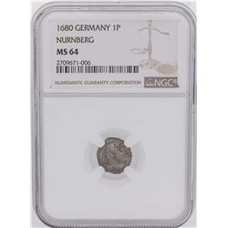 1680 Germany 1 Pfennig Nurnberg Coin NGC MS64