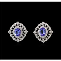 14KT White Gold 2.46 ctw Tanzanite and Diamond Earrings