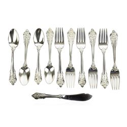 Wallace Grande Baroque Sterling Silver Salad Forks, Teaspoons, and Master Butter