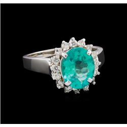 2.81 ctw Apatite and Diamond Ring - 14KT White Gold
