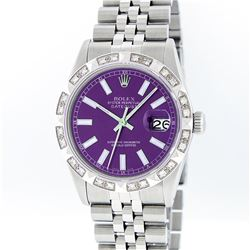 Rolex Stainless Steel Purple Index Pyramid Diamond DateJust Men's Watch