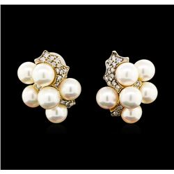 0.40 ctw Diamond and Pearl Earrings - 14KT Yellow Gold