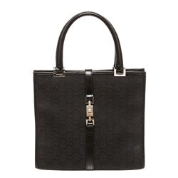 Gucci Black Monogram Canvas Leather Square Jackie Handbag