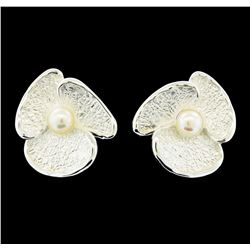 Petal Pearl Earrings - Rhodium Plated