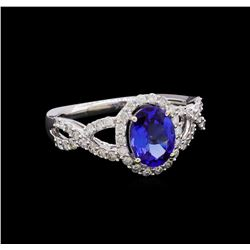 14KT White Gold 1.31 ctw Tanzanite and Diamond Ring