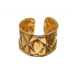 Chanel Metallic Gold Quilted Cuff Bracelet