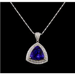14KT Two-Tone Gold 8.81 ctw Tanzanite and Diamond Pendant With Chain