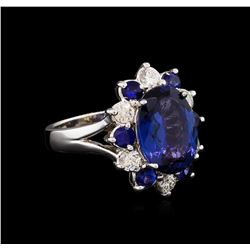 4.70 ctw Tanzanite, Sapphire and Diamond Ring - 14KT White Gold