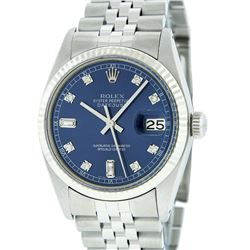 Rolex Mens Stainless Steel Blue Diamond And White Gold Beadset Datejust Wristwat