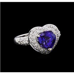 2.86 ctw Tanzanite and Diamond Ring - 18KT White Gold