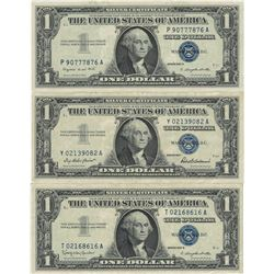 1957 $1 AU/Unc Silver Certificate Currency Lot of 3